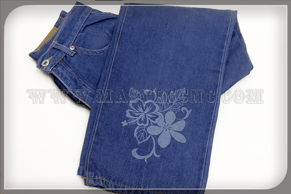 Blue Jean Trousers Engraved by Laser Engraving Machine