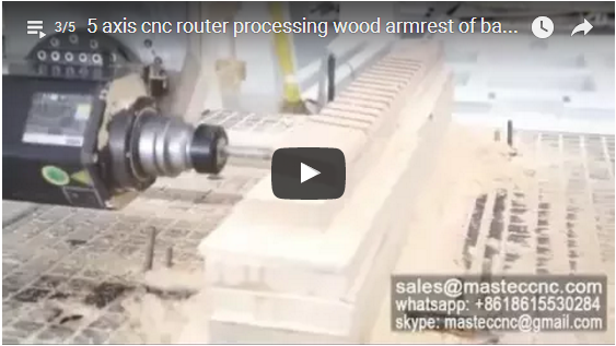 5 axis cnc router processing wood armrest of baby crib